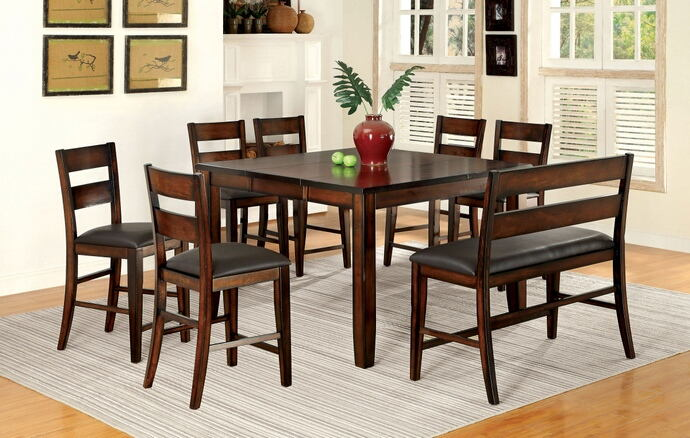 8 pc dickinson ii collection transitional style dark cherry finish wood counter height dining table set with padded chairs and bench