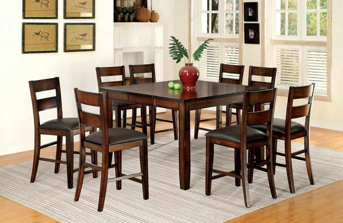 7 pc dickinson ii collection transitional style dark cherry finish wood counter height dining table set with padded chairs
