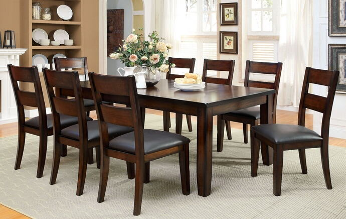 7 pc dickinson i collection transitional style dark cherry finish wood dining table set