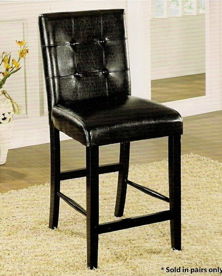 Furniture of america CM3188BK-PC Set of 2 atlas iii counter height chair leatherette back and seat with a black wood finish legs