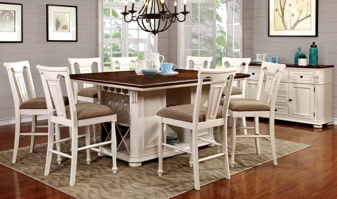 7 pc sabrina collection country style two tone cherry and white finish wood counter height dining table set with pedestal