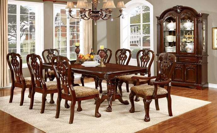 7 pc elana collection traditional style brown cherry finish wood dining table set