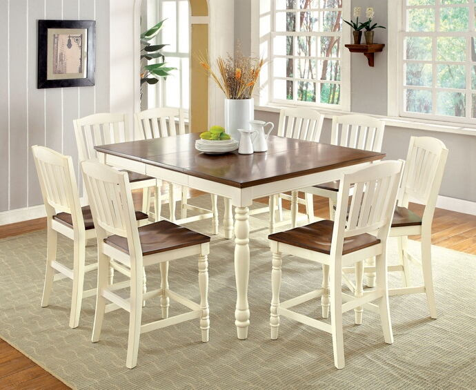 7 pc harrisburg collection country style two tone vintage white and dark oak finish wood counter height dining table set with turned legs