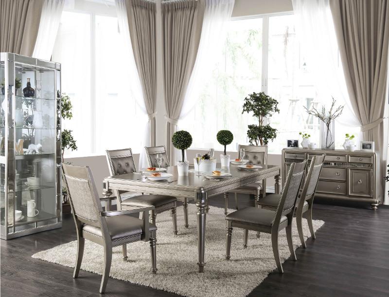 CM3239T-7PC 7 pc House of hampton barney xandra champagne finish wood dining table set