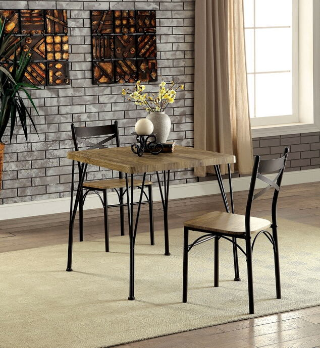 3 pc slingsby industrial style weathered finish wood and dark bronze metal legs bistro table and chairs