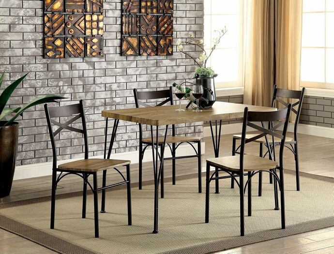 5 pc banbury industrial style weathered finish wood and dark bronze metal legs bistro table and chairs