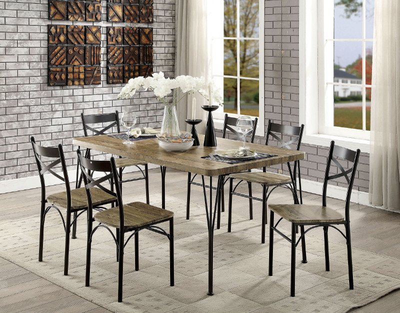 CM3279T-60-7PK 7 pc Williston forge marilynn banbury industrial style weathered finish wood dark bronze bistro table and chairs