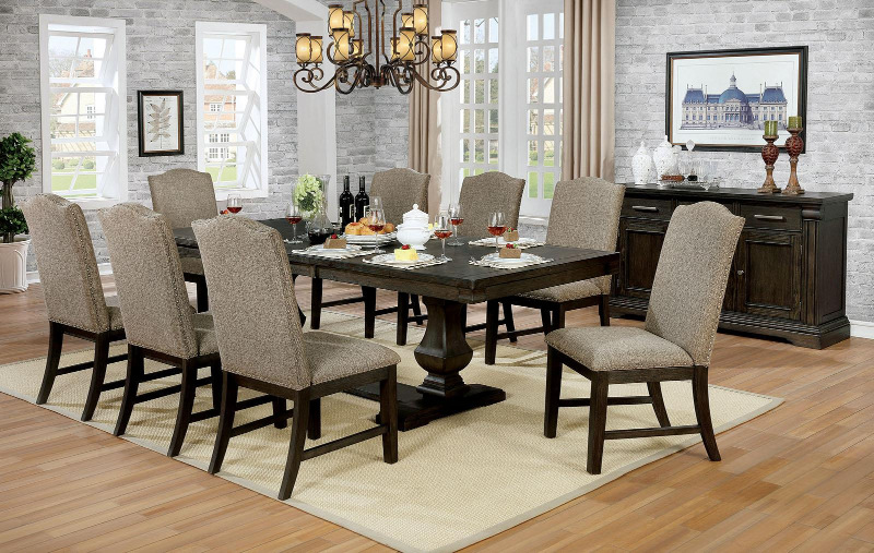 CM3310T-7PC 7 pc Gracie oaks johannes faulk espresso finish wood trestle base dining table set