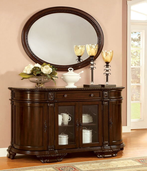 Bellagio collection brown cherry finish wood server and mirror