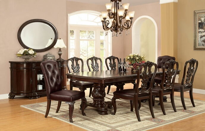 7 pc bellagio collection brown cherry finish wood dining table set with optional padded or open back chairs