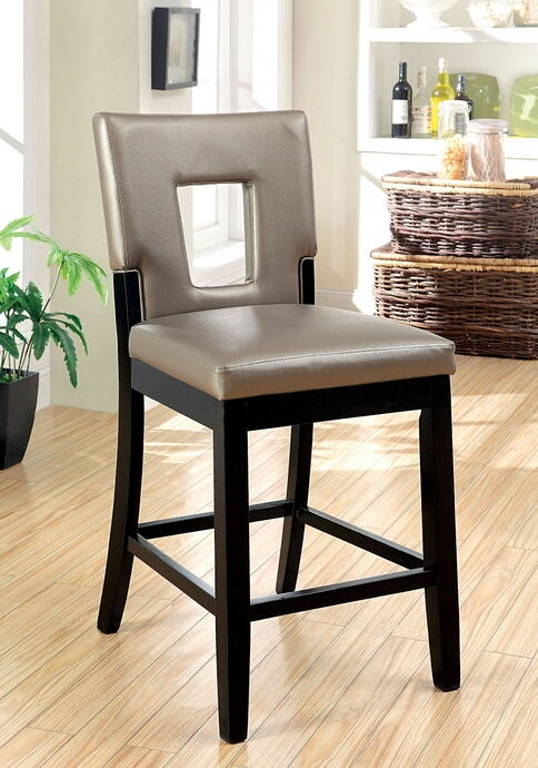 Set of 2 evant collection black finish wood with keyhole back and upholstered with a pewter leather like vinyl counter height bar stools