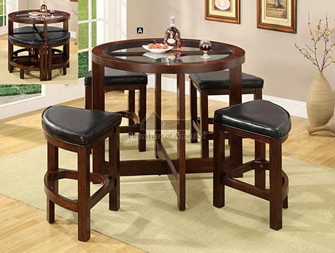 CM3321PT 5 pc. crystal cove i dark walnut wood finish round counter height table with glass table top set
