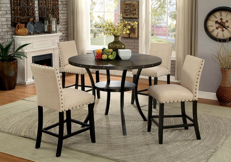 """CM3323RPT-5PC 5 pc Kaitlin walnut finish wood 48"""" round counter height dining table set"""