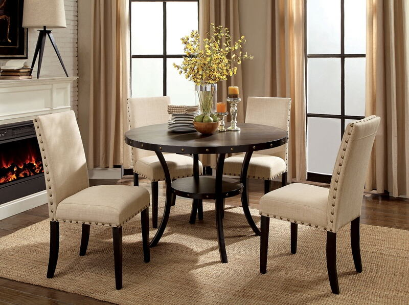 "CM3323RT-5PC 5 pc Bezu kaitlin walnut finish wood industrial style 48"" round dining table set"