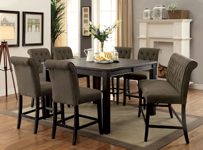 CM3324BK-PT-54-GY-8PC 8 pc Gracie oaks sania III antique black finish wood counter height dining table set gray chairs