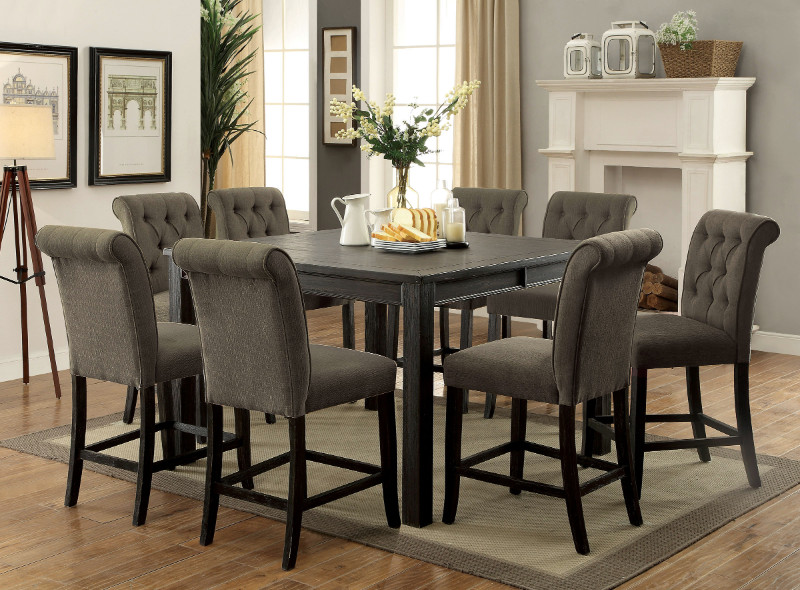 CM3324BK-PT-54-GY-9PC 9 pc Gracie oaks sania III antique black finish wood counter height dining table set with gray chairs