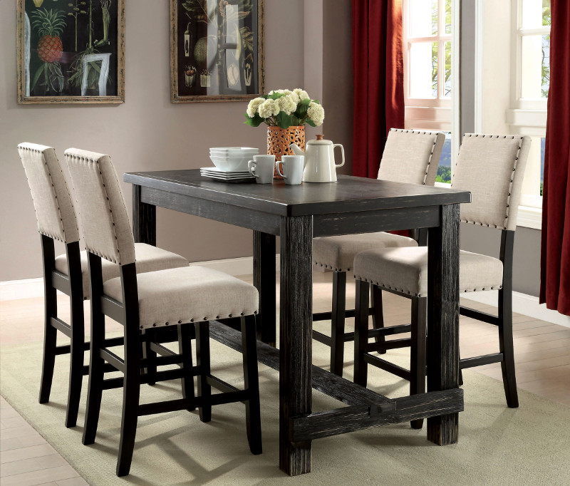 CM3324BK-PT-5PC 5 pc sania black finish wood counter height dining table set with padded chairs