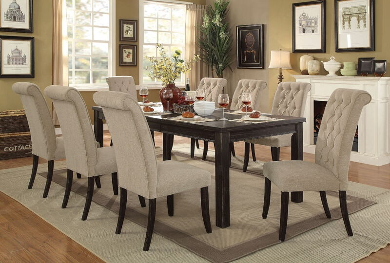 CM3324BK-T-84-3564SC 7 pc sania ii antique black finish wood dining table set with ivory padded chairs