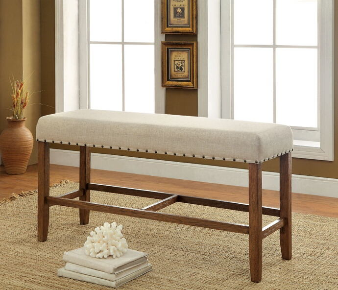CM3324PBN Sania natural tone finish wood counter height dining bench with nail head trim