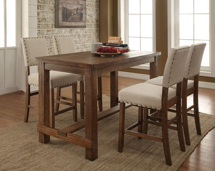 CM3324PT-5PC 5 pc sania natural tone finish wood counter height dining table set with padded chairs