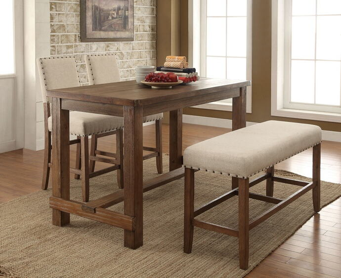 4 pc sania collection contemporary style natural tone finish wood counter height dining table set with padded chairs