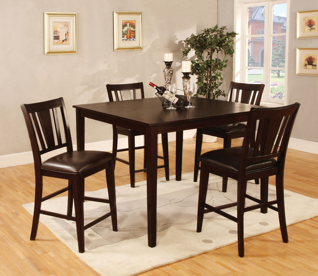CM3325PT-5PK 5 pc Red barrel studio bridgette ii espresso finish wood counter height table set