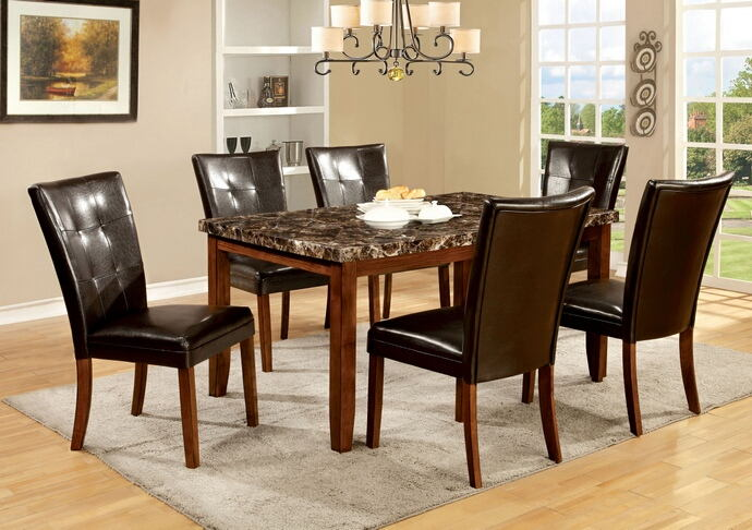 7 pc elmore i collection modern style antique oak finish wood dining set with faux marble finish top