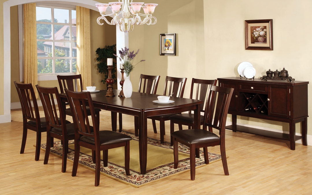 Furniture of america CM3336T-9PC 9 pc edgewood i dark espresso wood finish dining table set