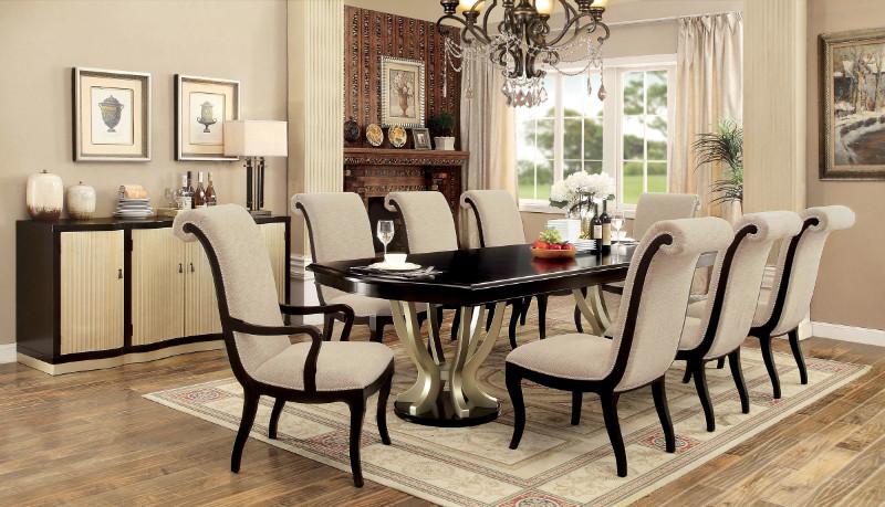CM3353T-7PC 7 pc Rosdorf park julie ornette espresso and champagne finish wood double pedestal dining table set