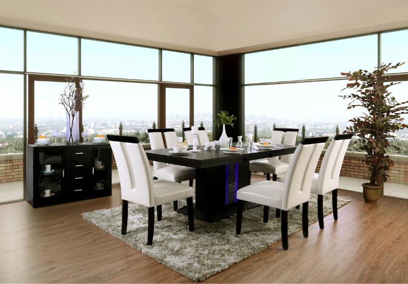 CM3394T-7PC 7 pc Evangeline black finish wood center pedestal led light strip dining table set