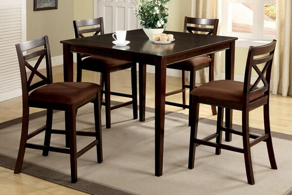 5 pc. weston ii contemporary style espresso wood finish counter height dining table set