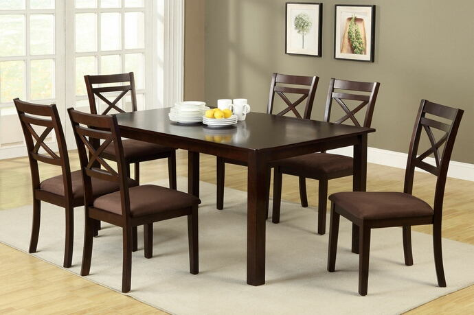 7 pc. weston contemporary style espresso finish wood with microfiber upholstered seat cushions