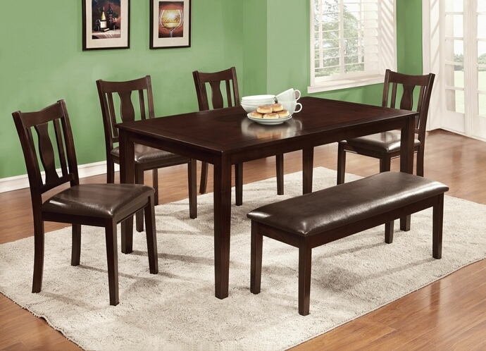 CM3402T-6PK 6 pc northvale ii espresso finish wood dining table set with bench