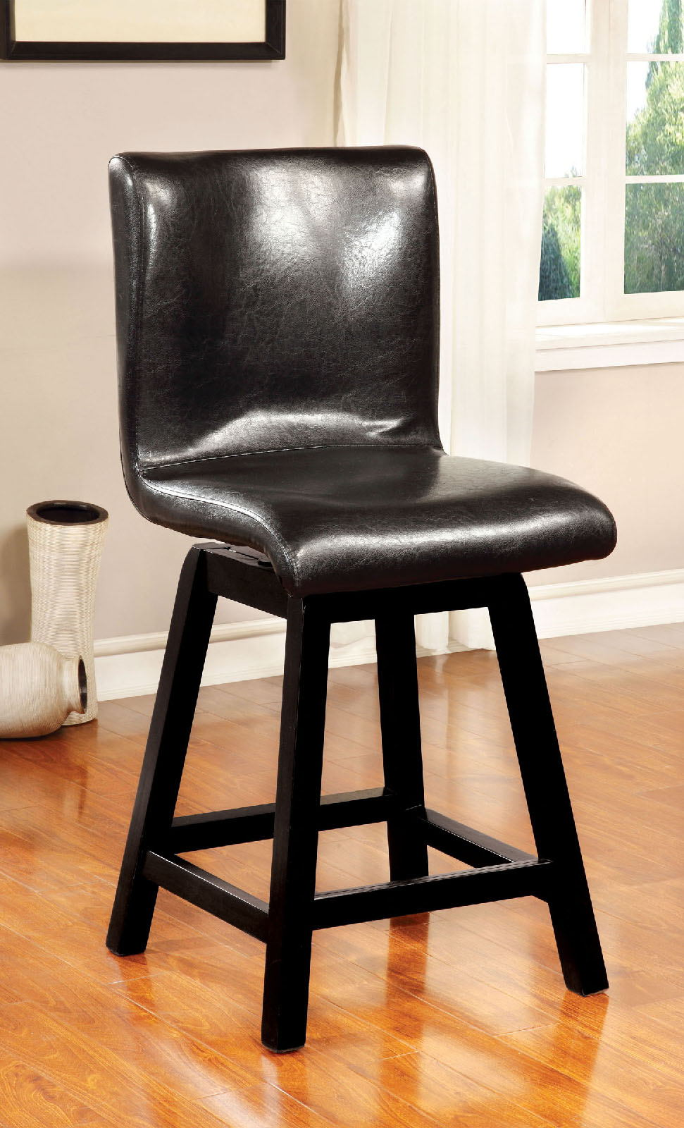 Set of 2 hurley collection modern style black finish wood dining counter height chairs with upholstered seat