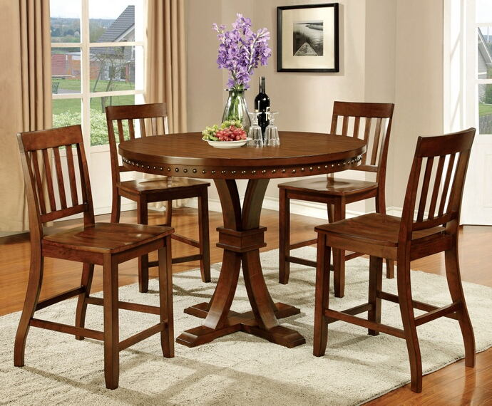 5 pc foster ii collection contemporary style dark oak finish round counter height dining table set with nail head trim