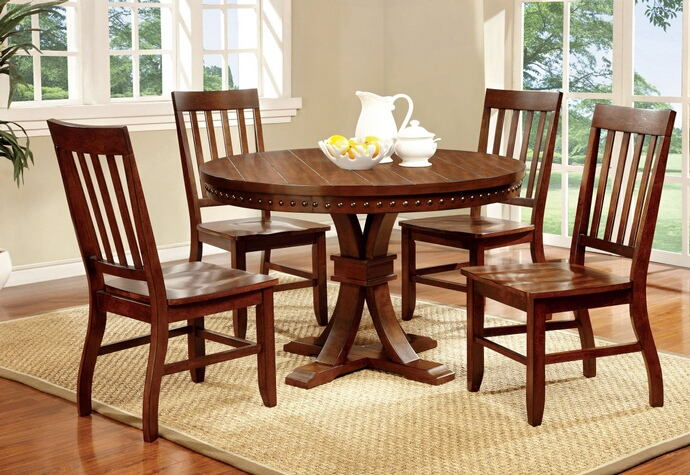 5 pc. foster i transitional style dark oak finish wood round dining table with nail head trim edge