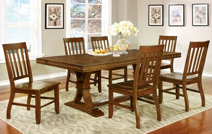 7 pc. foster i transitional style dark oak finish wood dining table with nail head trim edge