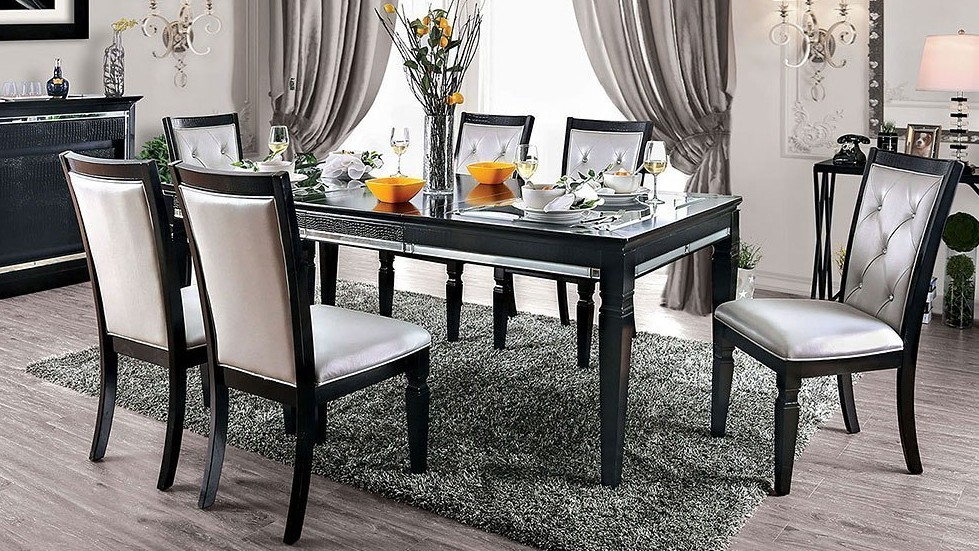 CM3452BK-T-7PC 7 pc Alena black finish wood dining table set glass and mirror top