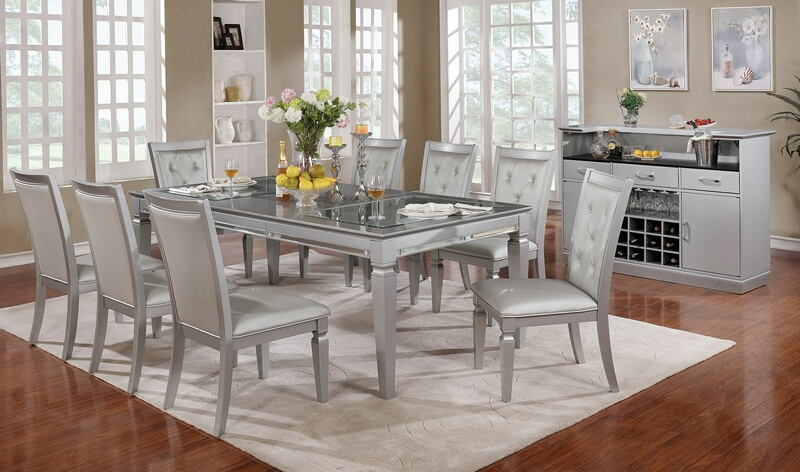 CM3452T-7PC 7 pc Alena silver finish wood dining table set glass and mirror top