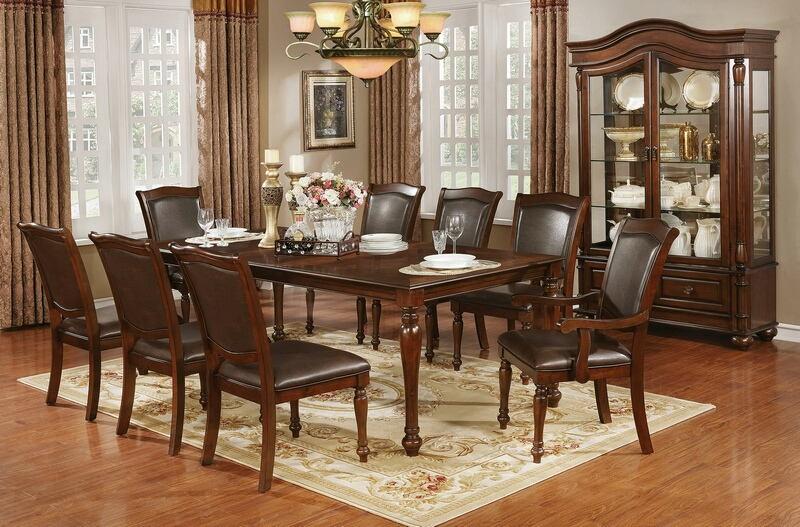 CM3453T-7pc 7 pc Astoria grand dufrene sylvana brown cherry finish wood dining table set