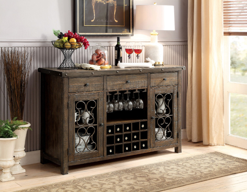 CM3465-SV Paulina rustic walnut finish wood dining sideboard server console table