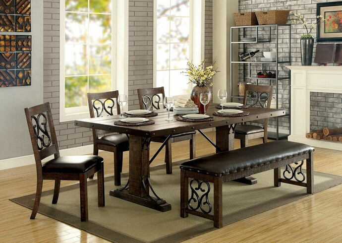CM3465T-6PC 6 pc Fleur De lis living knaresborough paulina rustic walnut finish wood industrial dining table set