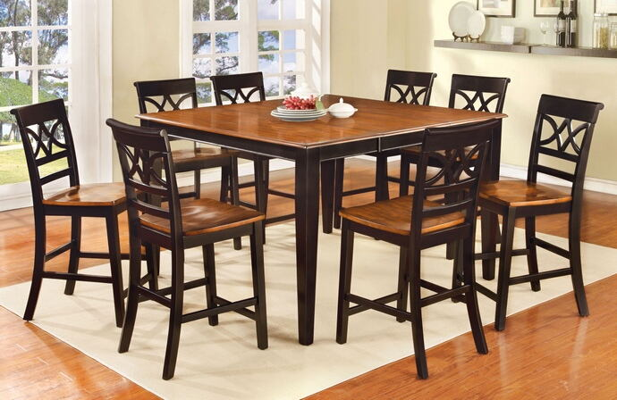 7 pc torrington ii collection country style two tone vintage black and oak finish wood counter height dining table set with wood seats