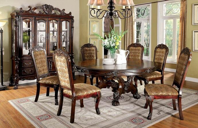 "CM3557CH-RT-7PC 7 pc Helena A&J homes studio cherry finish wood elegant 72"" Dia. round dining table set"