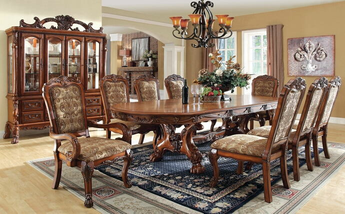 7 pc medieve collection antique oak finish wood upholstered back chairs  elegant and large dining table set
