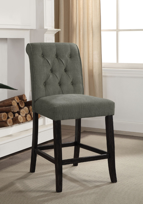 CM3564GY-PC Set of 2 Marshall gray linen like fabric antique black finish wood counter height chairs