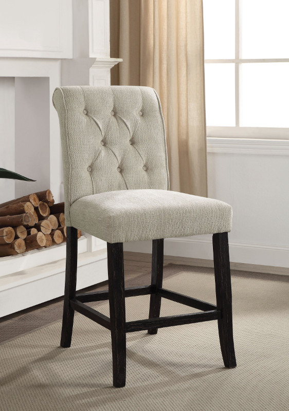 CM3564PC Set of 2 Marshall beige linen like fabric antique black finish wood counter height chairs