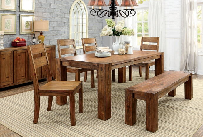 CM3603T-6PC 6 pc Bethanne frontier dark oak finish wood rustic block style dining table set with bench