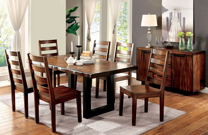 7 pc maddison collection contemporary style tobacco oak finish wood dining table set