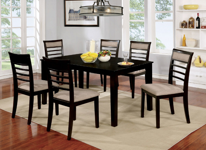 CM3607EX-T-7PK 7 pc taylah walnut finish wood dining table set